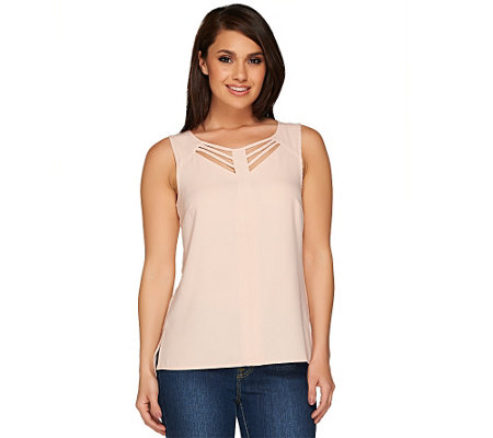 """As Is"" SA by Seth Aaron Sleeveless Top with Cut Out Details"
