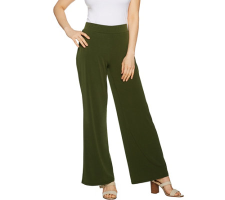 Susan Graver Petite Liquid Knit Wide Leg Pants with Back Slits