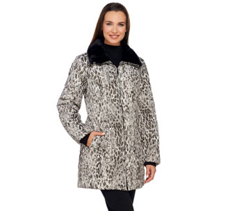 """As Is"" Dennis Basso Printed Water Resistant Jacket with Faux Fur Collar - A291817"