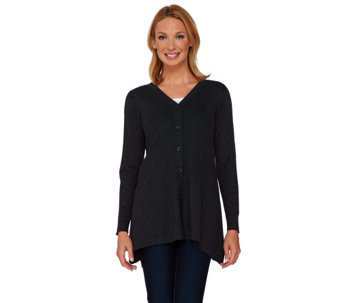 """As Is"" Linea by Louis Dell'olio Whisper Knit V-Neck Cardigan - A292217"