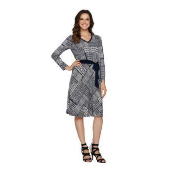 Susan Graver Printed Liquid Knit Dress with Belt