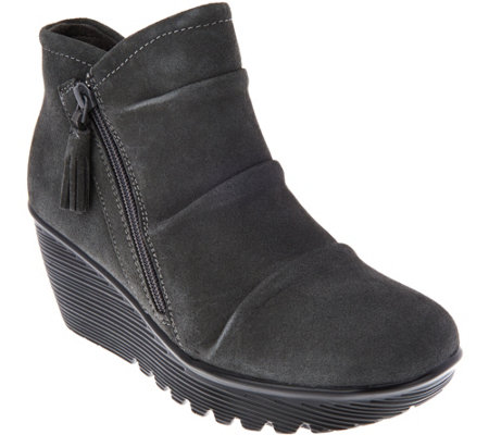 """As Is"" Skechers Ruched Suede Wedge Boots-Parallel Universe"