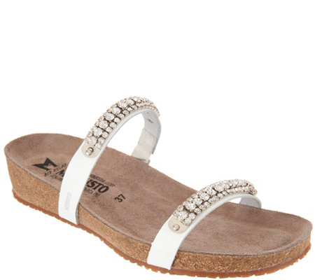 MEPHISTO Leather Double Strap Rhinestone Slides - Ivana