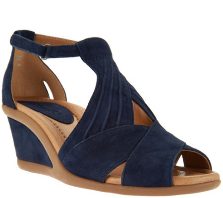 """As Is"" Earth Suede Peep-toe Wedge Sandals - Curvet"