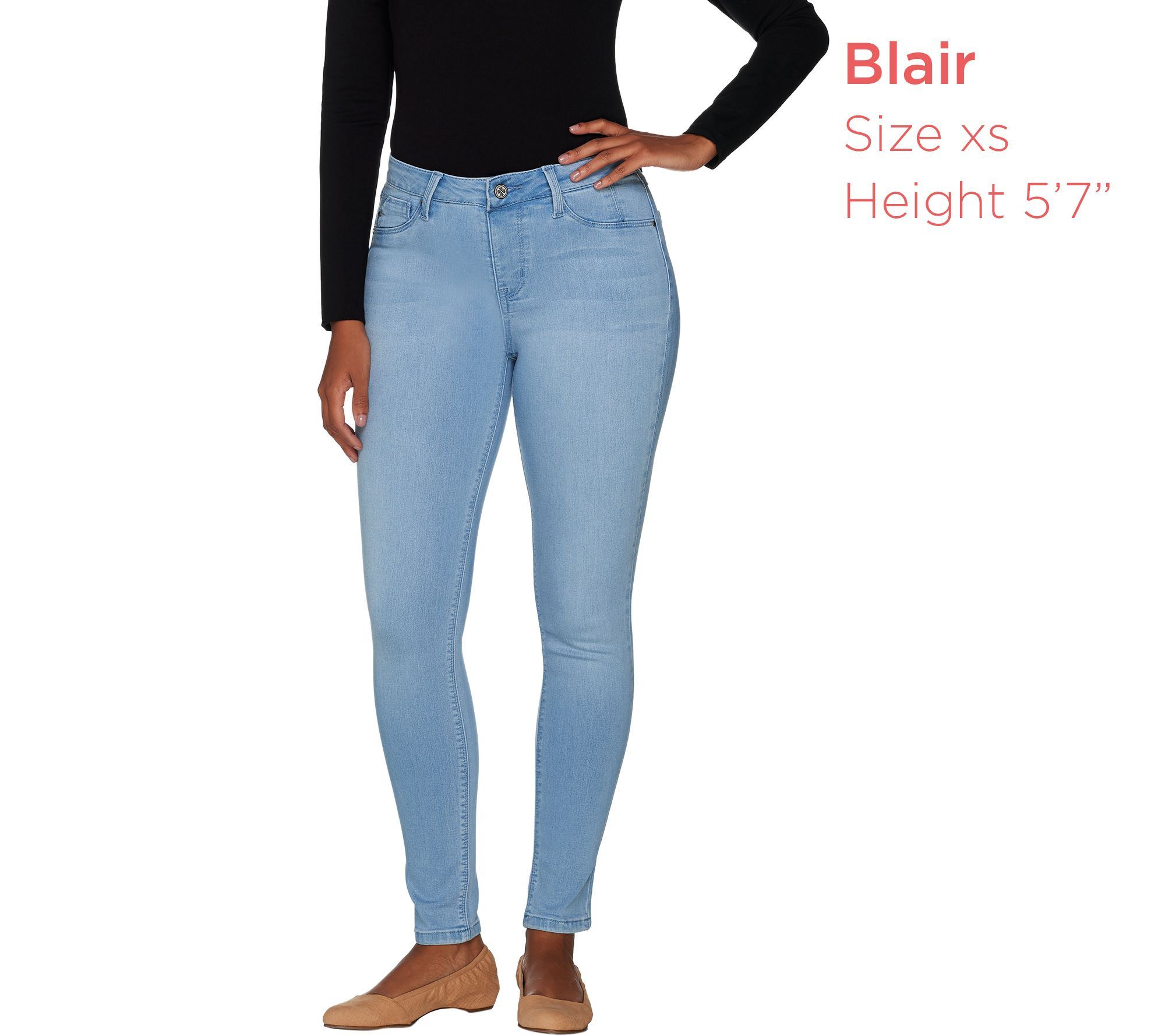 (QVC) Laurie Felt Silky Denim Skinny Ankle Jeans