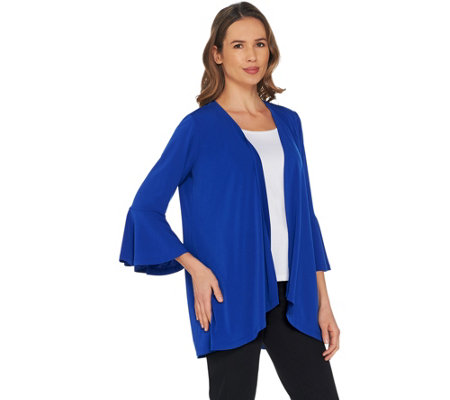 Every Day by Susan Graver Liquid Knit Cardigan with Bell Sleeves