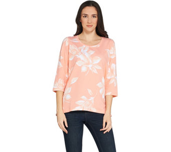 Denim & Co. Active Floral Printed French Terry Hi-Low Hem Top - A307117