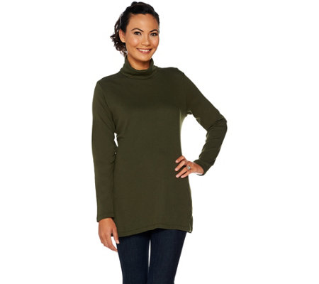"""As Is"" Denim & Co. Essentials Petite Turtle Neck Tunic"