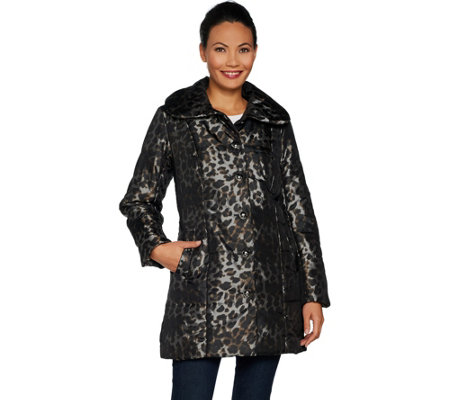 """As Is"" Dennis Basso Printed Water Resistant Quilted Coat"