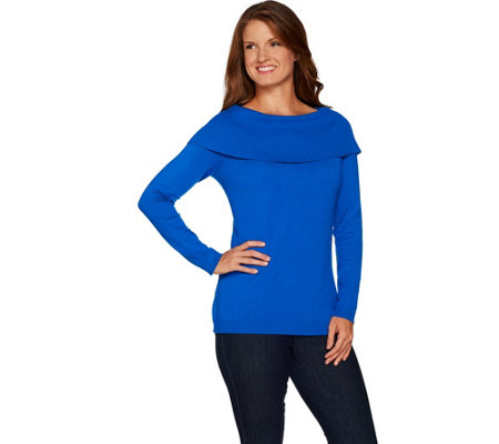 """As Is"" Belle by Kim Gravel Off the Shoulder Long Sleeve Sweater"