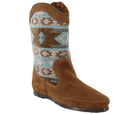 Minnetonka Suede Leather and Fabric Mid-Calf Boots - Baja