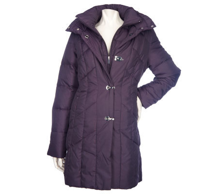Centigrade Quilted Down Coat with Removable Hood