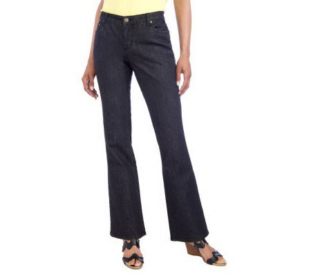 Isaac Mizrahi Live! Fly Front 5 Pocket Denim Boot Cut Jeans