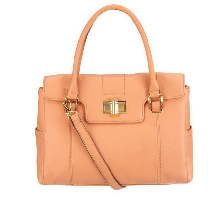 Tignanello Pebble Leather Satchel with Turnlock Hardware