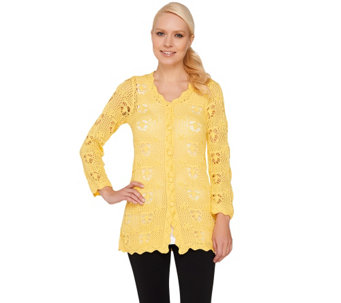 Joan Rivers Crochet Cardigan with Bracelet Sleeves - A231118