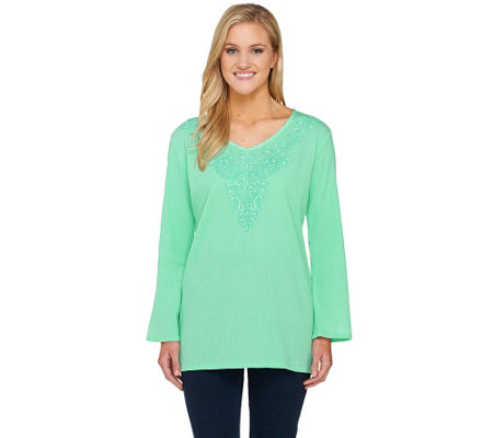 Susan Graver Weekend Crinkled Cotton Gauze V-Neck Tunic