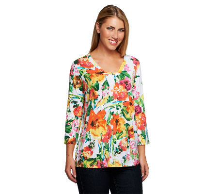 Susan Graver Printed Liquid Knit Squared V-Neck 3/4 Sleeve Top