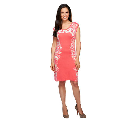 Isaac Mizrahi Live! Engineered Floral Knit Dress
