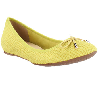 Isaac Mizrahi Live! Textured Leather Ballet Flats - A253018
