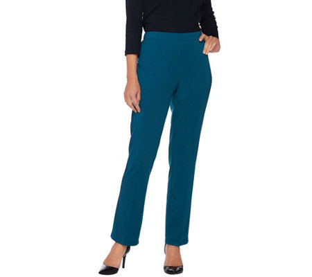 """As Is"" Susan Graver Milano Knit Petite Straight Leg Pull-on Pants"