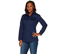Liz Claiborne New York Mock Neck 4-Pocket Utility Jacket - A255518