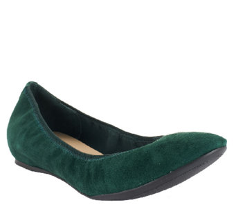 Isaac Mizrahi Live! Suede Flats with Hidden Comfort Wedge - A255818