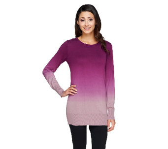 Lisa Rinna Collection Dip Dye Crew Neck Sweater - A256718