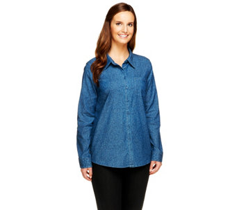 Denim & Co. Stretch Denim Animal Print Button Front Shirt - A257418