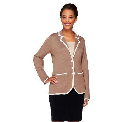 Liz Claiborne New York Milano Knit Blazer w/ Tipping