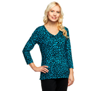 """As Is"" Susan Graver Weekend Printed Cotton Nylon V-Neck Sweater - A259318"