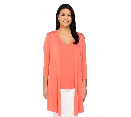 Attitudes by Renee Open Pleated Front Cardigan and Tank Set