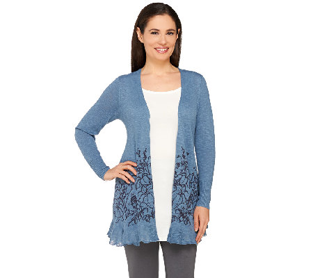LOGO by Lori Goldstein Open Front Knit Cardigan with Floral Hem