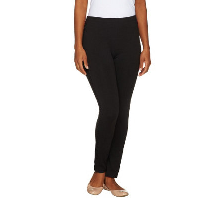"""As Is"" Susan Graver Cotton Spandex Legging with Side Ruching"
