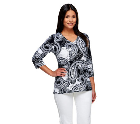 """As Is"" Denim & Co. Perfect Jersey Paisley Print V-Neck Top"