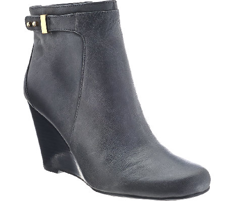 Isaac Mizrahi Live! Leather Wedge Ankle Boots w/ Gold Buckle