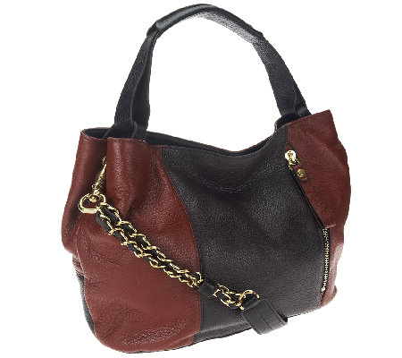 """As Is"" orYANY Italian Leather Satchel w/ Chain Strap- Bethanie"