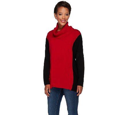 Susan Graver Plush Knit Colorblock Turtleneck Sweater