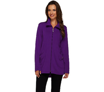 Susan Graver Weekend Brushed Back Knit Long Sleeves Zip Front Jacket - A269318