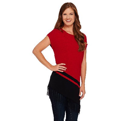 Susan Graver Plush Knit Sweater with Asymmetrical Hem & Fringe