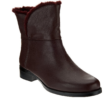 H by Halston Leather Ankle Boots with Faux Fur Lining - Olga