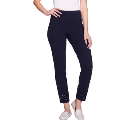 Women with Control Regular Ankle Pants w/ Laser Cut Detail