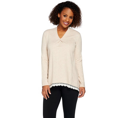 LOGO Lounge by Lori Goldstein French Terry Trapeze Top