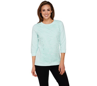 Isaac Mizrahi Live! 3/4 Sleeve Lace Applique Sweatshirt - A274618