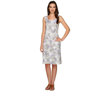 """As Is"" Denim & Co. Seashell Print Sleeveless Knit Dress - A274718"