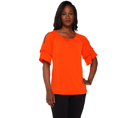 """As Is"" Susan Graver Liquid Knit Tiered Split Sleeve Top"