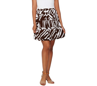 Susan Graver Printed Liquid Knit 8 Gore Pull-On Skort - A275218