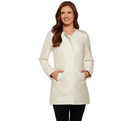 Dennis Basso Textured Topper Coat with Contrast Trim