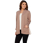 LOGO Lounge by Lori Goldstein Cardigan with Layered Hem Detail - A275718