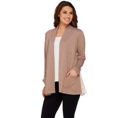 LOGO Lounge by Lori Goldstein Cardigan with Layered Hem Detail