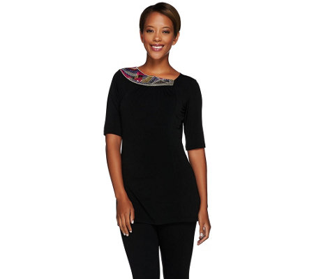 """As Is"" George Simonton Knit Top with Embellished Neckline"